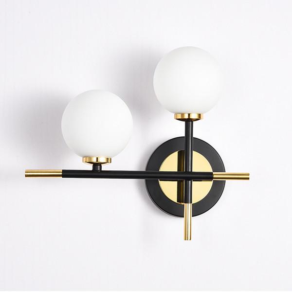 Nordic Minimalist Wall Lamp Modern Glass led Wall Light American Living Room Bedroom Light Bathroom vanity Two Heads Wall Lamp Modern Sconce