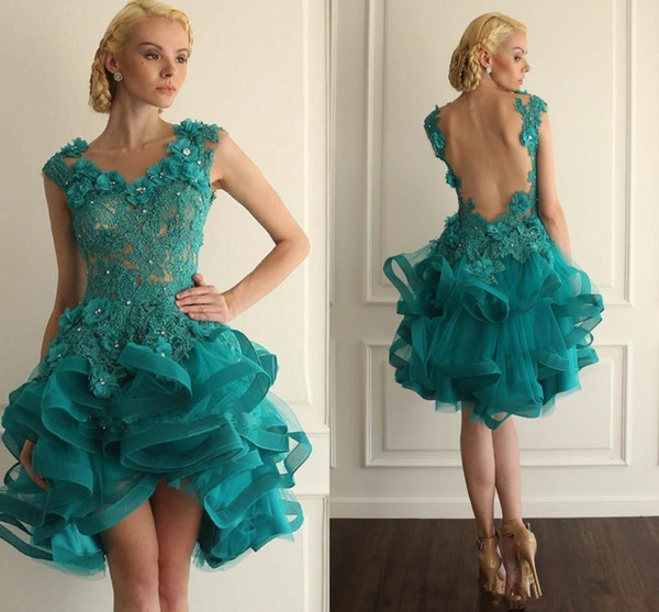 Sexy Short Turquoise Cocktail Dresses Teal High Low Prom Party Gowns Beaded Lace 3D Floral Appliques Illusion Backless Homecoming Dress 2019