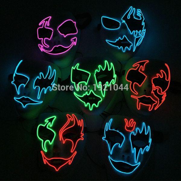 2017 Ventes Chaudes El Fil Lumière Up Neon Glwoing Masque Rave Custom Nuit Masque Fluorescent Pour Event Party Fournitures