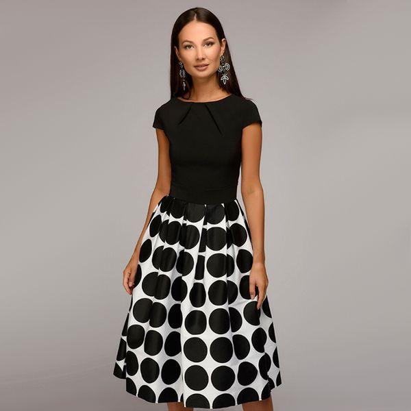 Fashion Vintage Dot Printed A line Party Midi Dress Short Sleeve O neck Elegant Bohemian Midi Dress 2018 Summer Chic Dress Y19012102