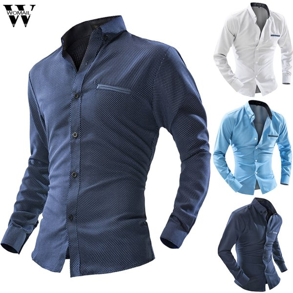 Womail Shirt Men Business Shirts Casual Button Long Sleeve Shirt Slim Fit Stand Collar Gift High Quality fashion New 2019 M1