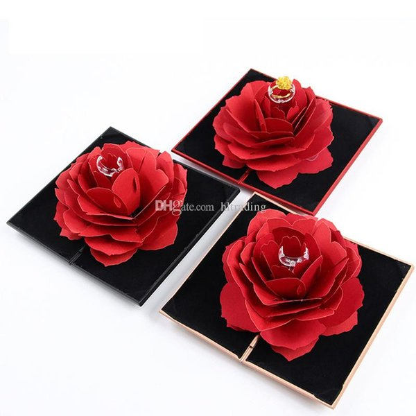 Foldable Rose Ring Box For Women Romantic propose 2019 Creative Jewelry Storage Case Small Gift Box For Rings free shipping C6372