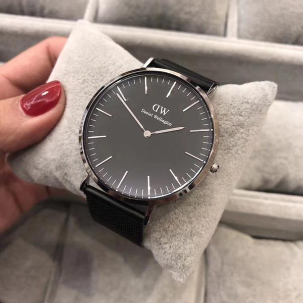 2018 famous brand Daniel women mens Wellington WATCHes fashion nylon strap silver mens watches box Montre Femme Relogio Feminino dw