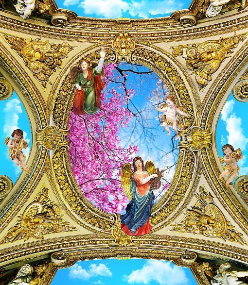 Carta da parati 3D personalizzata per foto 3D Romantica L'arrivo di fate e angeli Carte da parati a soffitto 3D Home Decor
