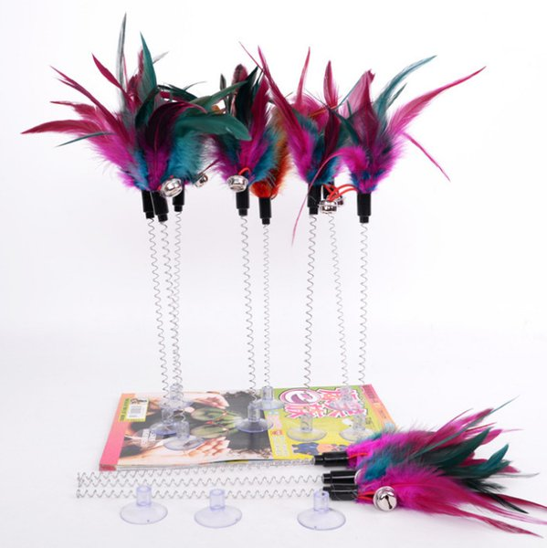 top popular cat kitten toys feather playing toys spring suck 30pcs lot 2021