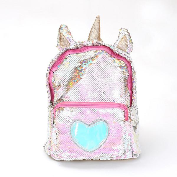 Sequins Unicorn Backpack Wholesale Women PU Leather Mini Travel Soft Bag Fashion SchoolBag For Teenager Student Girls Book Bag Satchel