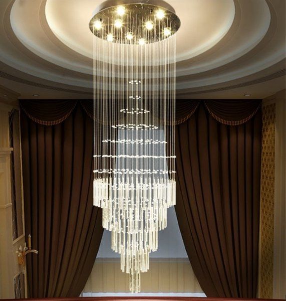 Modern Luxury LED lustres K9 Crystal Lamps Rotary staircase chandelier Living room villa lobby Lights For Chandeliers LLFA