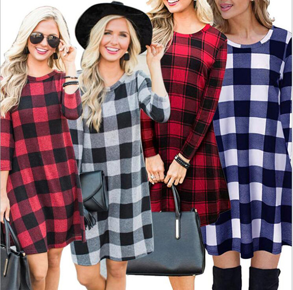 top popular Women Shirt Dress Tartan Plaid Check 3 4 Sleeve Loose Waist Tie Dress Fit Top Buffalo Check Dress 2020