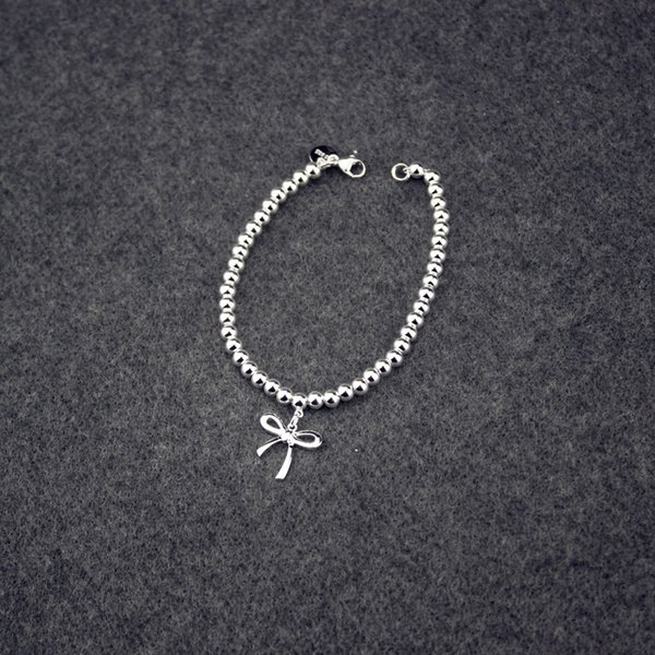 Silver 925 Bracelet for Women Bow Bracelets Charms Wedding Engagement Jewelry