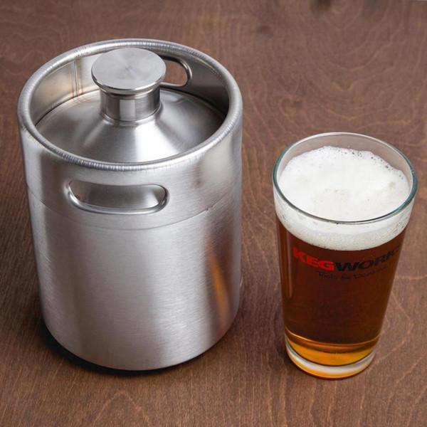 Stainless Steel 2L Flagon Hip Flasks Mini Beer Bottle Barrels Beer Keg Screw Cap Beer Growler Homebrew Wine Pot Barware Party Tool
