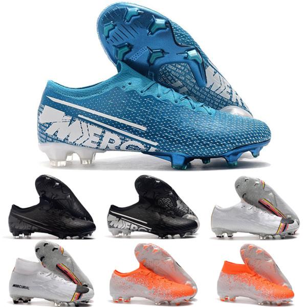 Yeni Varış 2019 Mens Mercurial Buharları Fury XIII Elite FG Futbol Ayakkabıları Esnek Sinek örgü 360 Superfly VI Kapalı Futbol Cleats çizmeler 36-45