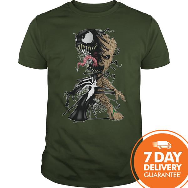 Groot engraçado e Venom Camisa Floresta Camisa para Homens e Mulheres Homens Mulheres Unisex Moda tshirt Frete Grátis