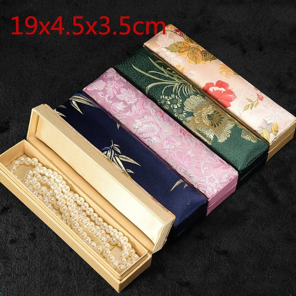 High End Rectangle Silk Fabric Necklace Gift Box Pen Storage Case Long Jewelry Packaging Box 19x4.5x3.5 cm 1pcs