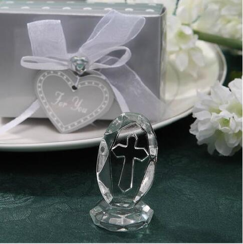 Crystal Collection Crystal Cross Figurines With Colorful Box Birthday Keepsake Religious Party Accessories Wedding Favor Gift Free Shipping