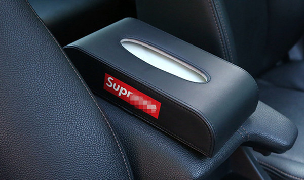 Personalized Vehicle-Mounted Tissue Box Creative High-Grade Seat Type Home Auto Tissue Boxes Car Interior Products Red Black