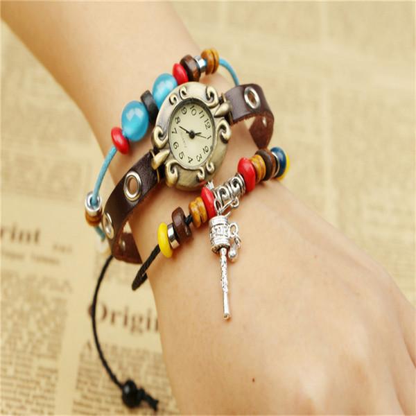 Uomo Donna Unisex pelle Vera pelle del braccialetto del Wristband Handmade