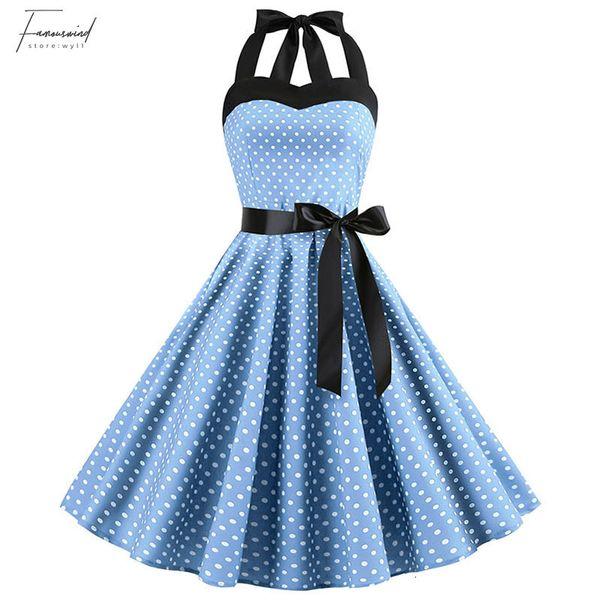 Sexy Halter Party Dress 2019 Polka Dot Midi Vintage 50S 60S Pin Up Rockabilly Dresses Robe Plus Size Elegant Hepburn Dress