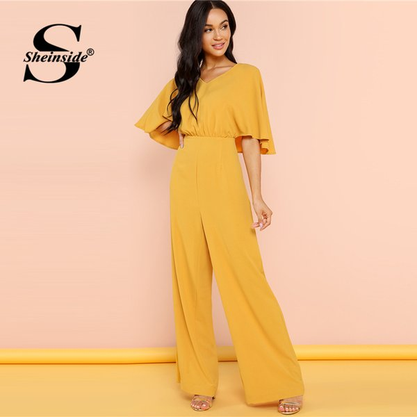 Sheinside Ginger Batwing Sleeve Elegant Wide Leg Jumpsuit Office Ladies Work High Waist V-Neck Women Summer Jumpsuits
