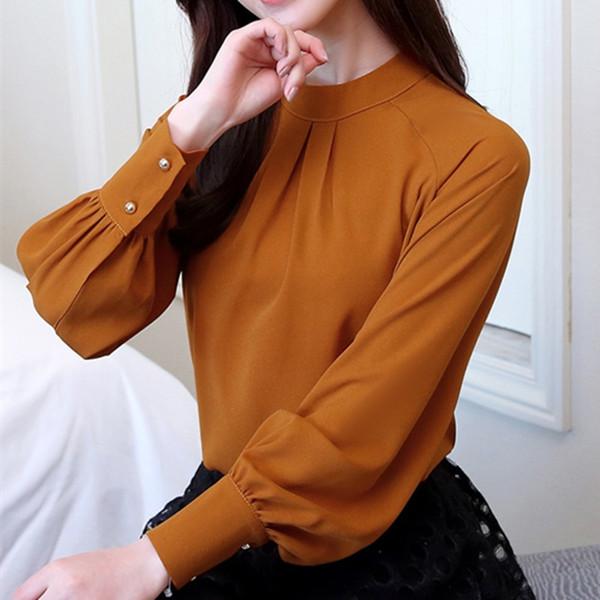 Осень новые женские топы и блузки с длинным рукавом шифоновая блузка Mujer модные женские рубашки женские топы рубашка Camisa Feminina