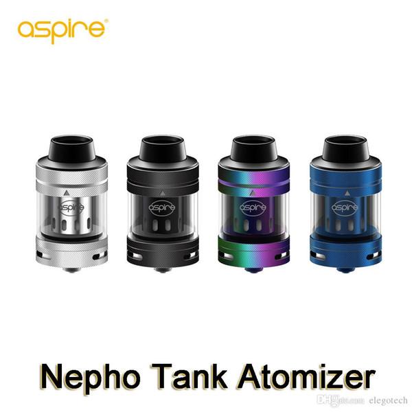 Aspire Nepho Subohm Tank Atomizador 4 ml com Nevoeiro Mesh Coil KA Bobina Inferior Airflow Design 100% Autêntico Eletrônico Cigarros Tanques