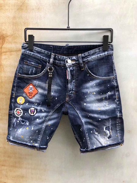 new 2019 Men Denim Tearing shorts Jeans Night club blue Cotton fashion Tight summer Men's pant