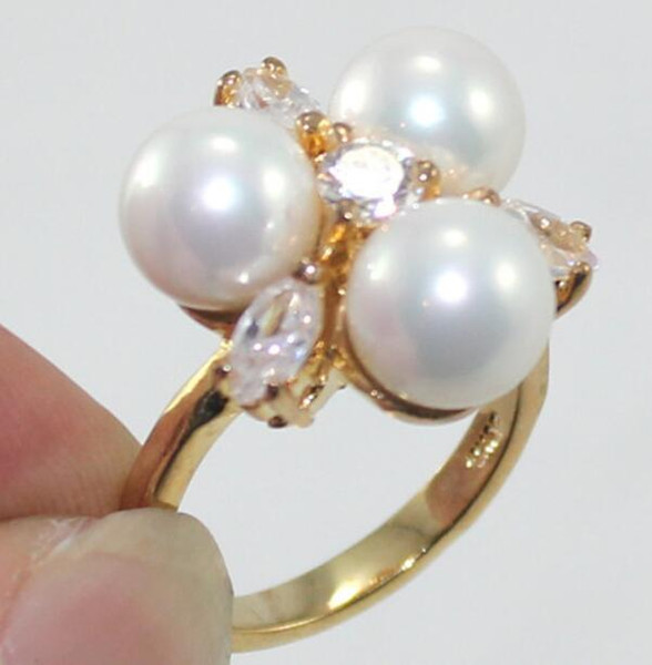 Jewelryr anel de pérola 8mm rosa / preto / multi / azul / ouro / branco south sea shell pérola anel frete grátis