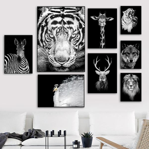 Acheter Tigre Lion Cerf Mur Art Toile Peinture Nordique Affiche Et Imprimer Animal Mur Photos Pour Le Salon Scandinave Décor à La Maison De 34 17 Du