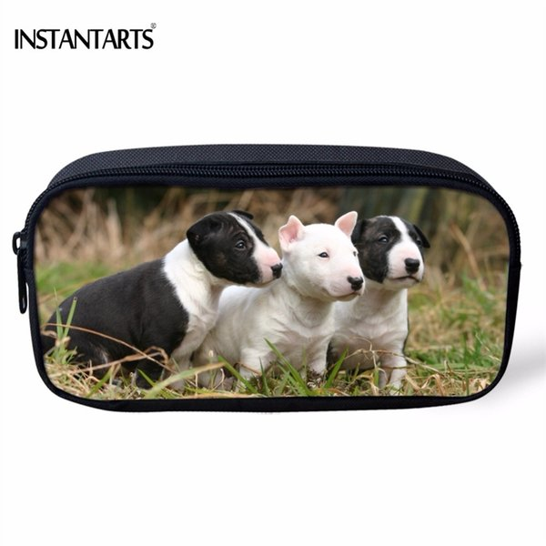 INSTANTARTS Cute 3D Animal Dog Bull Terrier Print Woman Cosmetic Cases School Students Pencil Cases Casual Organizers Pencil Bag #159500