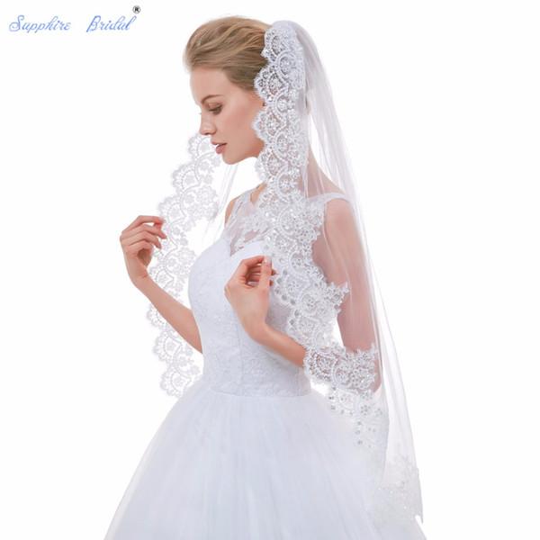 wholesale 2018 New Arrival Stunning Lace Edge Wedding Veils Velo De Novia White Ivory Vintage Veils For Brides Hot