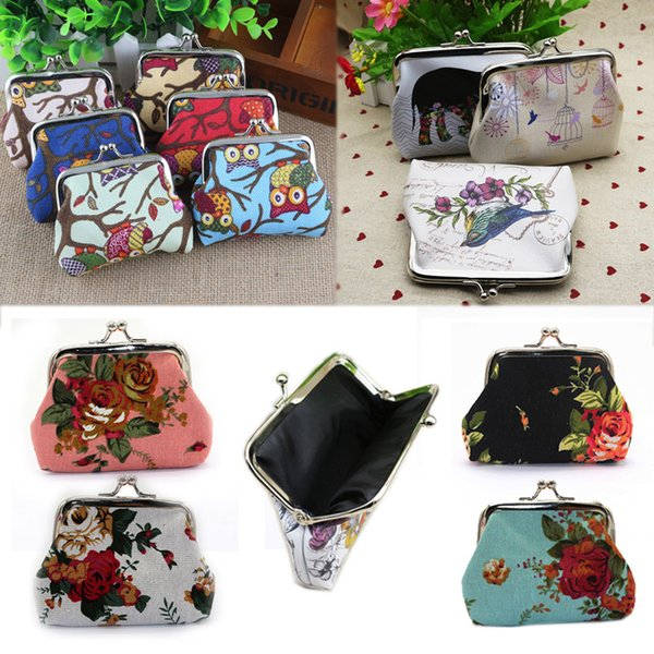 Sale Leather Female Woman Cartoon Coin Purse 1PC Canvas Printing Owl Flowers Card Holders Small Wallet Excellent Lady Purse
