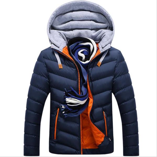 Casaco de inverno Homens 2018 Outono Quente de Algodão-Acolchoado Streetwear Mens Jaquetas e Casacos Com Capuz Casuais Masculino Parkas Vestuário