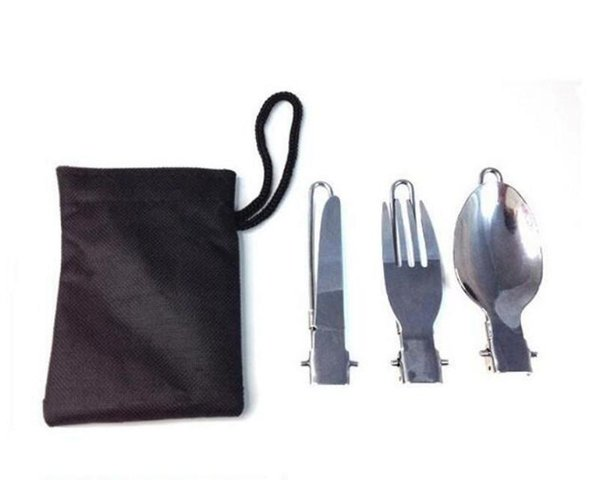3 In 1 Foldable Outdoor Camping Picnic Tableware Stainless Steel Portable Spoon Fork Knife Suit For Camp Kitchen