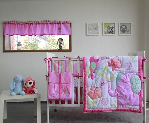 High Quality Baby Organizer 9Pcs Girl Crib bedding set Pink Baby cot bed for infant Comforter Crib sheet Dust Ruffle
