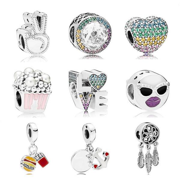 Perline in argento sterling 925 Bracciale Pandora di alta qualità in argento con ciondolo per bracciali moda Designer di gioielli