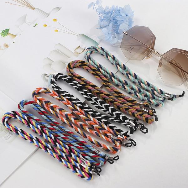 Gafas antideslizantes Cadena Gafas Anteojos Cuello colgante retro Cuerda de los hombres coreanos Gafas de sol Cadena Torcedura Correa de cuello de cordón grueso