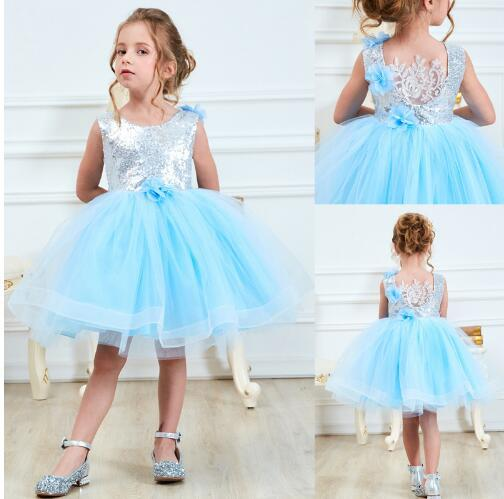 summer kids dresses for baby girls princess party dress sleeveless sequined flowers carnival vestido clothes wears xf119