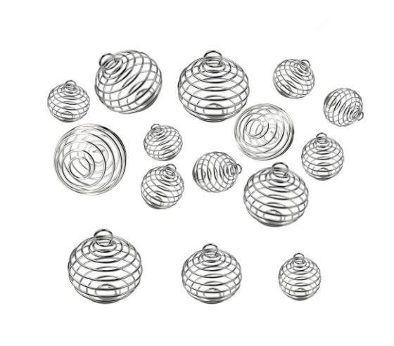 best selling Silver Plated Hollowed Lantern Ball Cage Pendant Mounting, 3 Sizes Can Hold Beads DIY Floating Charms Necklace Pendant Spring Ball Locket