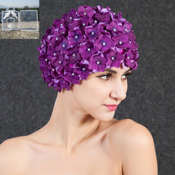 Sports High Quality Women Floral Print Pearl Swimming Cap Surf Hat Protect Ears Sports Swim Pool Shower Cap+ Nose Clip Earplugs