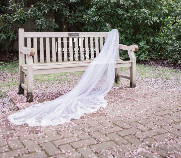 Zarif Fashional Tek katmanlı Beyaz Fildişi Dantel Aplike Kenar Düğün Peçe Amzaing Meidingqianna Marka Şapel Uzunluğu Gelin Peçe