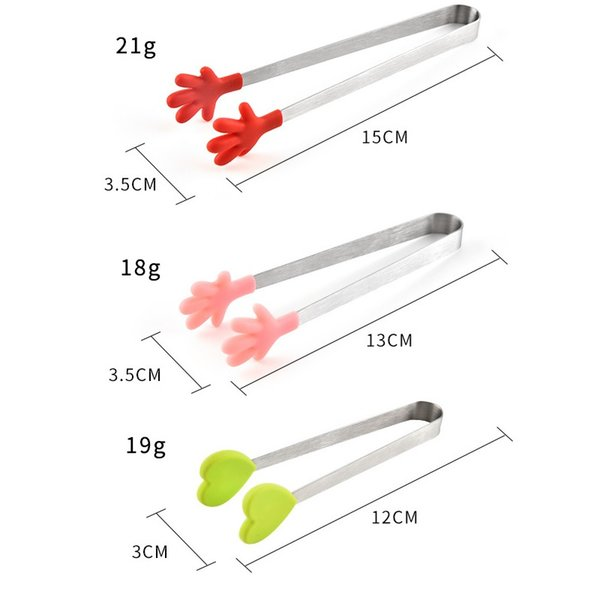 "Acier Inoxydable Silicone Top Mini Pinces De Cuisine Aliments Cuisson Non-Stick 7/"""