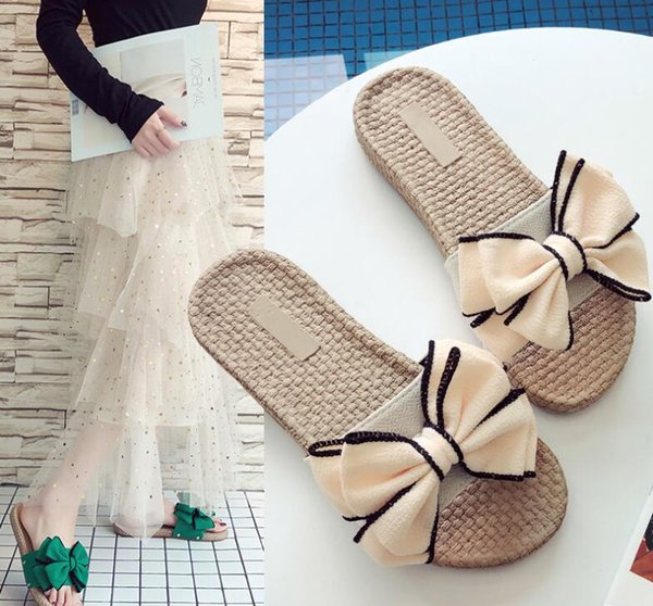 2019 Designer Frau Gummi Rutsche Sandale Floral Brokat Frauen Hausschuhe Gear Bottoms Flip Flops Frauen Bow Beach kausalen Pantoffel
