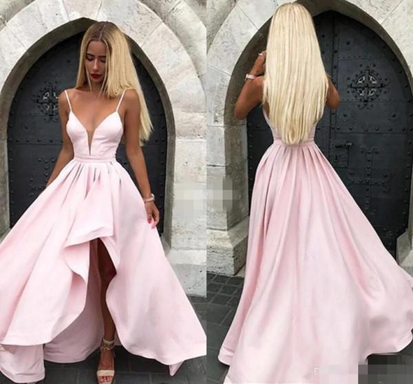 2020 Pink Пром платья High Low сатин бретельках Sheer шеи Pluning Глубокий V Формальное вечернее платье коктейль Wear сшитое