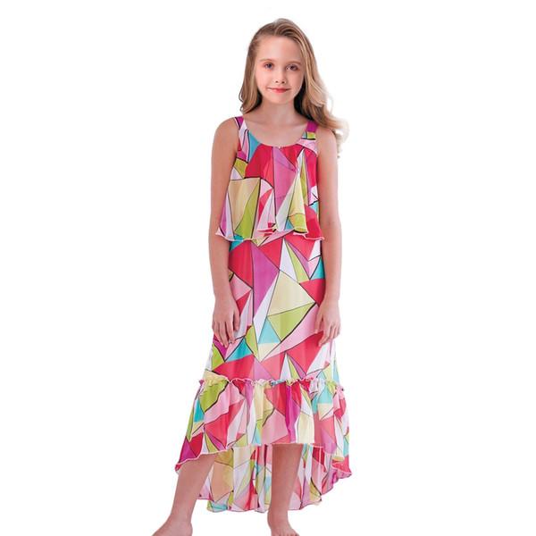Dress Girls Clothing Color Geometry Girls Beach Dress Cute Beach Summer Dress Kids Flower Gril Dresses T0018