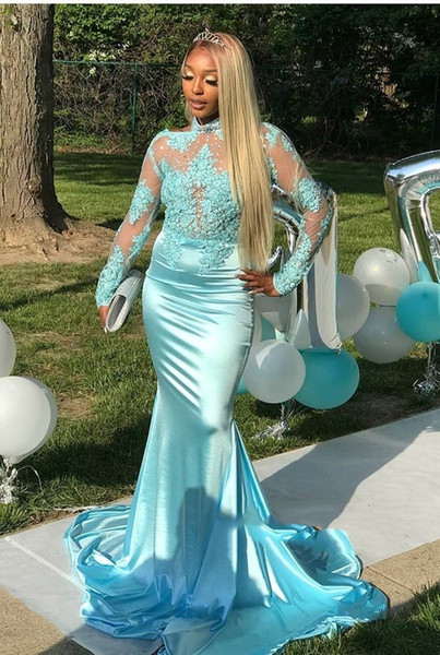 2019 African Light Sky Blue Long Sleeve Gold Lace Prom Dresses Mermaid Satin Applique Beaded High Neck Backless Court Train Prom Party Gowns