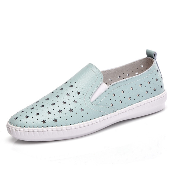 Kadın moda düz rahat hakiki deri cowleather ayakkabı üzerinde kayma bayanlar kadın mokasen ofis işleri kesimler yaz rahat ayakkabı