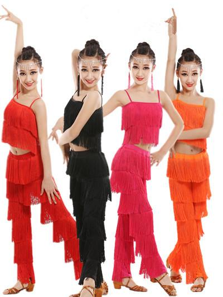 robes de danse latine pour la vente salle de bal, plus la taille frange gland robe pantalon tango Jazz salsa costume samba enfants enfants filles