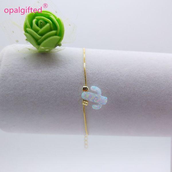 1 adet Sentetik beyaz Yangın Opal Kaktüs kolye ile Kadınlar için 925 altın Bilezikler Moda Takı sevgililer Günü Hediyesi aksesuarları