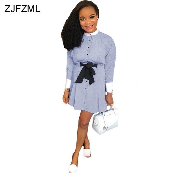 ZJFZML Blue White Striped T Shirt Dress For Women Black Bow Long Sleeve A-Line Short Dress Elegant Ladies Button Plus Size Dress