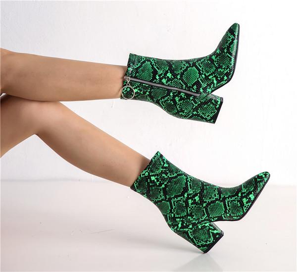 Jaune Imprimé Vert Bootie Chaussures YMECHIC Mode Cheville Hiver Talons Acheter Blanc Femmes Zipper Femme 2019 De52 Serpent Rétro 5 Bottes Gothique 5j4LRA