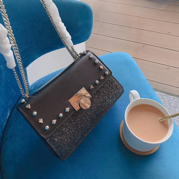 Lady Femmes Sac à main épaule luxe Cross Body Marque Sac à bandoulière Shimmer métallique B100735Z